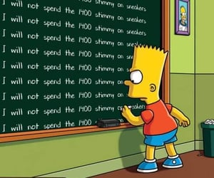 chalkboard, bart simpsons, and sneakers image