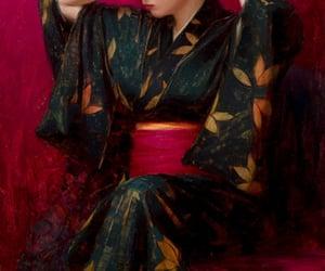 art, kimono, and painting image