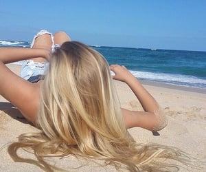 beach, blonde, and hair image