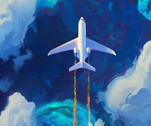 background, plane, and travel image