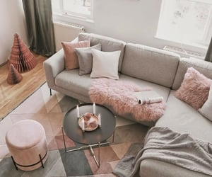 cozy, living room, and pink image