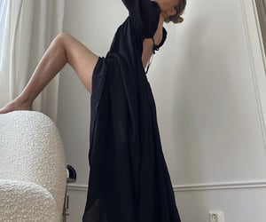 backless, black dress, and chic image