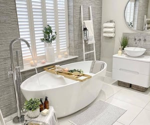 bath, bathroom, and comfortable image