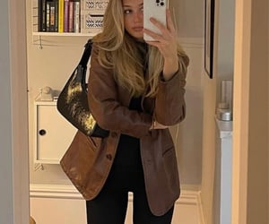 brown, fashion, and brown leather jacket image