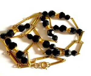 black and gold, modernist necklace, and etsy image