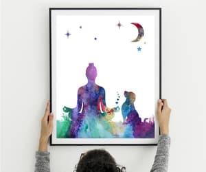 woman and dog, meditation art, and yoga wall art image