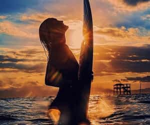 board, surf, and girl image