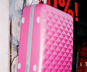 storefront, luggage, and pink image