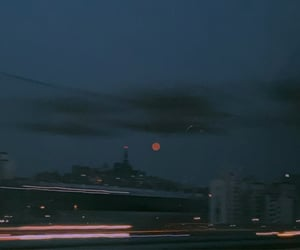 moon, red moon, and 밤 image