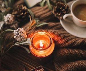 candle, autumn, and coffee image
