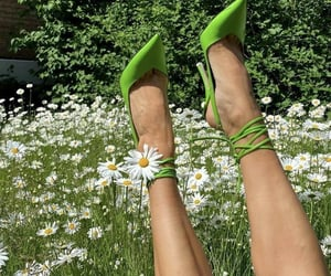 green, shoes, and flowers image