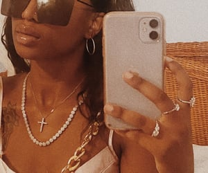 black girl, nose piercing, and iphone 11 image