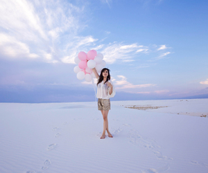 fashion, girl, and balloons image