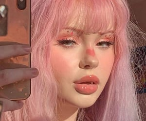 aesthetic, girl, and pink hair image