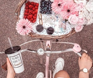 spring, bicycle, and flowers image
