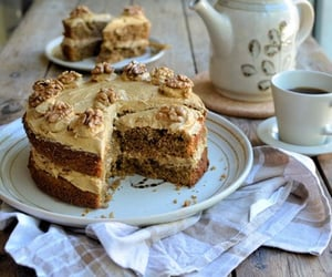 food, walnuts, and cake image