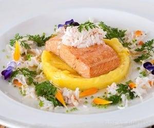 salmon, crab, and food image