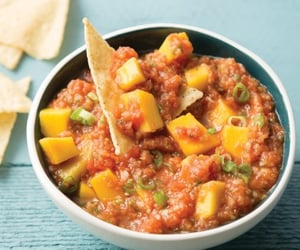 food, mango, and salsa image