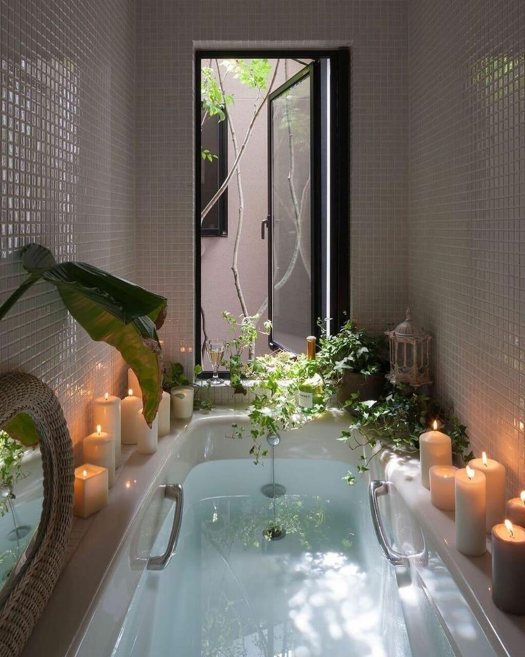 plants, bath, and candle image