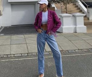 street style, everyday look, and purple jacket image
