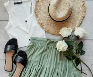 hat, outfit, and skirt image