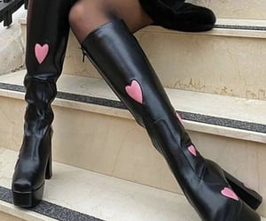 boots, fashion, and hearts image