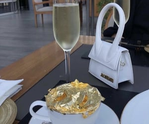 bag, coffee, and champagne image