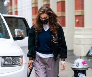 blue sweater, street style, and white tee shirt image