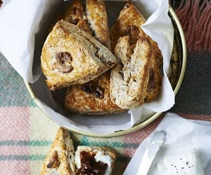 food, walnuts, and scones image