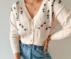 fashion, mom jeans, and cute cardigan image
