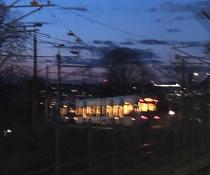 city lights, stockholm, and train image