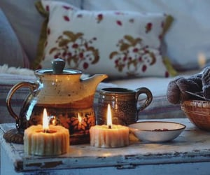 candles, cozy, and tea image