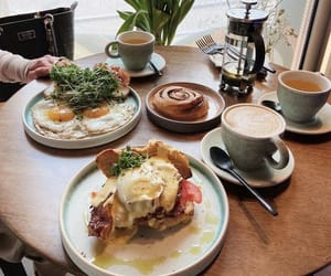 breakfast, cinnamon rolls, and coffee image