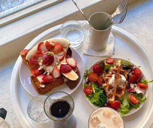 black coffee, cafe, and french toast image