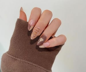 nails, brown, and heart image