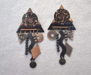 dangle earrings, triangle earrings, and women teen girls image