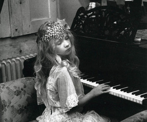 child, girl, and piano image