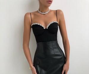 black dress, choker, and dress image