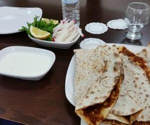 lunch, turkish food, and lahmacun image