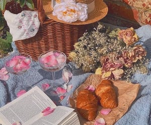 aesthetic, flowers, and picnic image