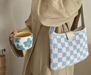 bag, cup, and floral image