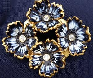 Black & White Enamel Flower Brooch, 4 Flowers w/ Clear Rhinestone Centers, Vintage 1940s 1950s Mid Century Jewelry