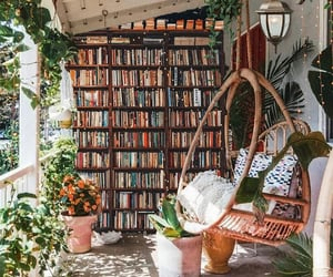 home, plants, and books image