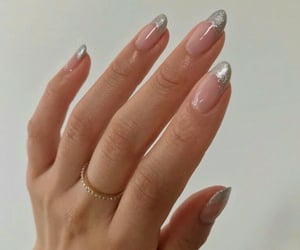 nails, silver, and manicure image