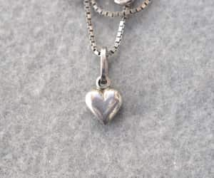 etsy, vintage pendant necklaces, and silver heart image