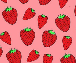 red, strawberry, and wallpaper image