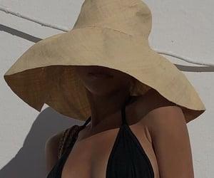 beach, bikini, and hat image