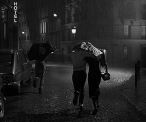 black and white, romantic, and rain image