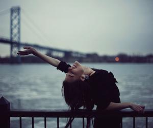 girl, photography, and bridge image