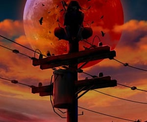 power lines, utility pole, and naruto image